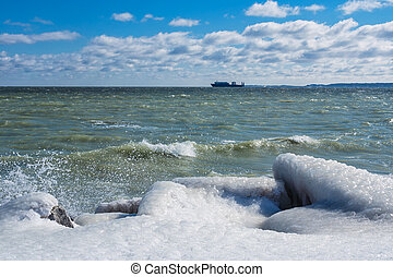 Winter on shore of the Baltic Sea.