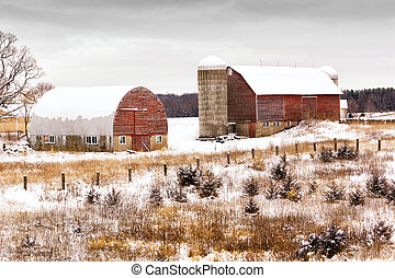 Winter on a Midwestern farm after first snow.