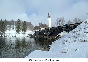 Winter on the lake Bohinj in Triglav national park, located in the Bohinj Valley of the Julian Alps