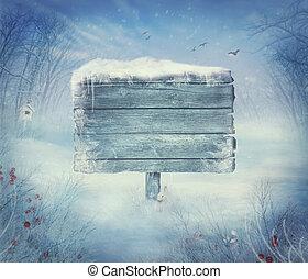 winter, ontwerp, -, kerstmis, vallei, met, meldingsbord