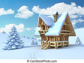 winter or Christmas scene - winter or Christmas scene - log...