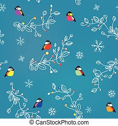 Winter or Christmas seamless pattern with birds, snow and...