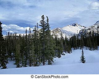 Winter or Spring scene of Longs Peak in Rocky Mountain National Park