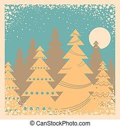 winter, ouderwetse , frame, sneeuw, illustratie, kaart