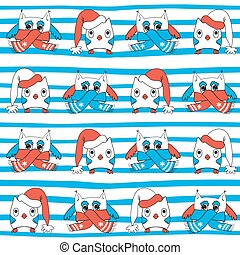 Winter owls seamless pattern