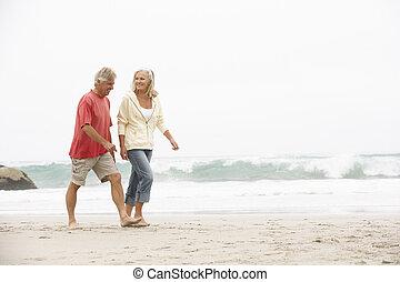 winter, paar, rennende , senior, vakantie, strand, langs