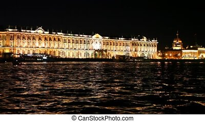 Winter Palace standing on embankment Neva River at night