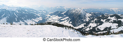 Winter panorama in the Alps