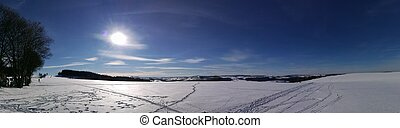 Winter panorama in the Erzgebirge