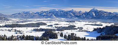 Winter panorama landscape in Bavaria