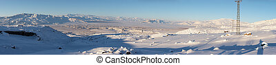 Winter panorama of abandoned village at Mount Ararat