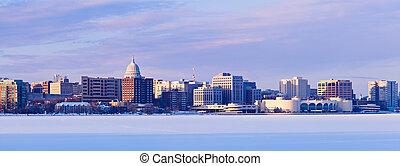 Winter panorama of Madison. Madison, Wisconsin, USA
