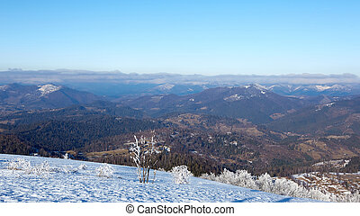 Winter panorama of mountains on a sunny day. Carpathians, Ukraine