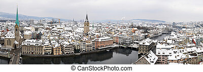 Winter panorama of Zurich