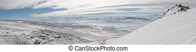 Winter panoramic image from Mount Ararat ascent, Turkey