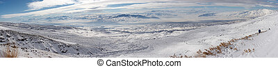 Winter panoramic image from Mount Ararat descent
