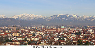 winter panoramic view of Vicenza City in Italy