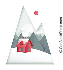 Winter paper art landscape. Mountains and small red house on the