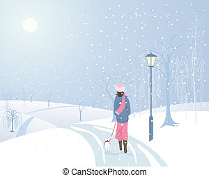 an illustration of a woman walking a small dog in a snowy park with an old fashioned lamp and frosted trees