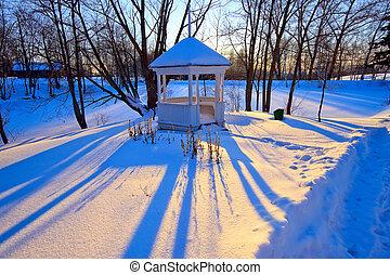 Winter park at sunset, Boldino national park, Russia