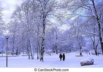 Winter park - Couple in winter park