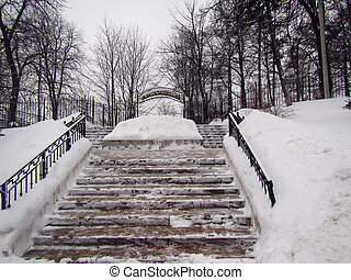 Winter park stairs in small Russian town