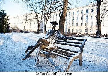 Winter park with a sculpture. Minsk, Belarus
