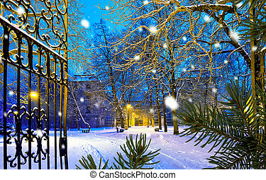 Winter park with gateway in the snowfall by night