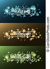 Winter party. Autumn party. Summer party. Background of multicolored lights. Glare bokeh. White, rectangular banners. Flying leaves of maple. Flying snowflakes