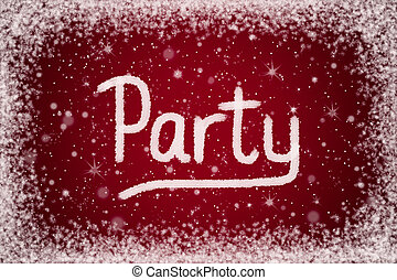 Winter Party Invitation on Red Background