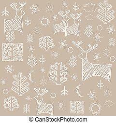 Winter pastel wallpaper with reindeer and fir