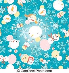winter pattern with snowmen