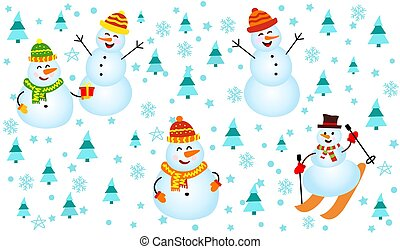 Winter pattern with snowmen, snowflakes and christmas trees. happy Snowman on white background.