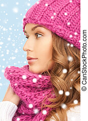 beautiful woman in pink winter hat and muffler - winter,...