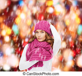 woman in pink hat and scarf - winter, people and happiness ...