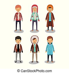 winter people background with men with coats and winter clothes in colorful silhouette on white backdrop
