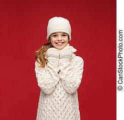 girl in hat, muffler and gloves - winter, people, happiness...