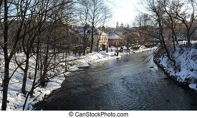winter people river flow