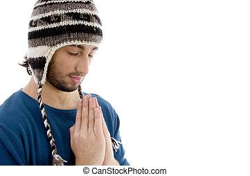 winter, pet, jonge, biddend, kaukasisch, mooi