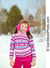winter., petit enfant, girl, dehors
