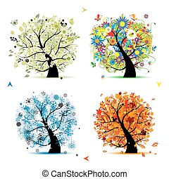 winter., piękny, sztuka, wiosna, jesień, -, drzewo, cztery,...