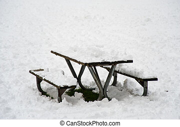 Winter picnic table - Snow covered picnic table