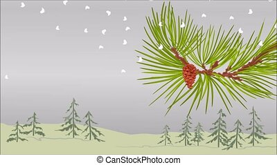 Winter pine branch with snow