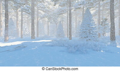 Winter pine forest at snowfall day