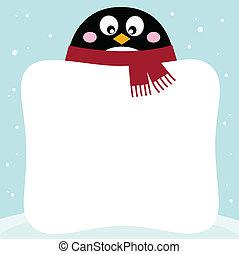 winter, pinguin, mit, leer, banner, auf, verschneiter , hintergrund