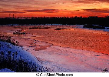Winter pink evening