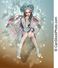 Winter Pixie - a graceful pixie with fairy dress and wings