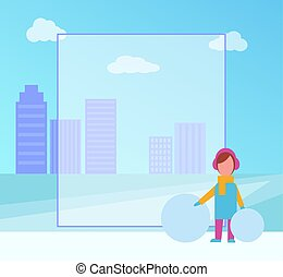 Winter Placard with Girl on Vector Illustration