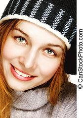 winter, porträt, von, eins, glücklich, freudig, frau