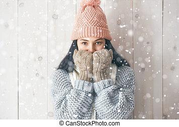 winter, porträt, von, junge frau